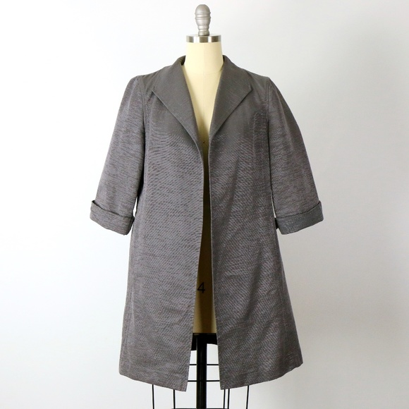 Eileen Fisher Textured Shiny Open Front Jacket